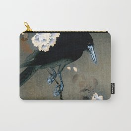 Vintage Japanese Crow and Blossom Woodblock Print Carry-All Pouch