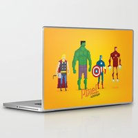 super heroes Laptop & iPad Skins featuring Super Heroes - Pixel Nostalgia by Boo! Studio
