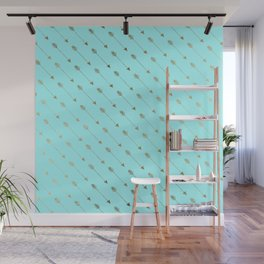 Modern teal faux gold bohemian chic arrow pattern Wall Mural