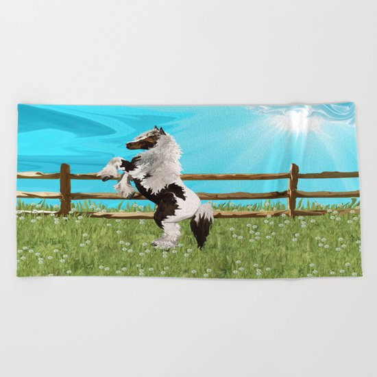 The Vanner Horse On a Heavenly Field of Daisies Beach Towel