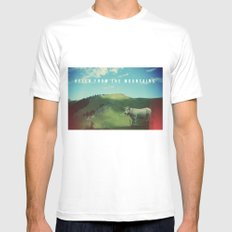 Mountain cow White MEDIUM Mens Fitted Tee