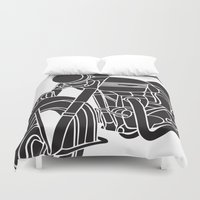 motorcycle Duvet Covers featuring Motorcycle by Gemma Bullen Design