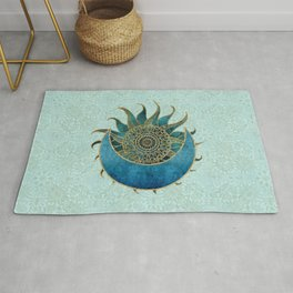 Sun And Moon Universe Celestial Art Gold And Turquoise Rug