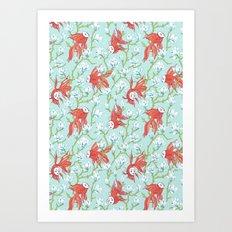 Goldfish, Mask and Magnolia Pattern Art Print