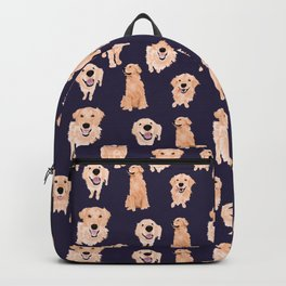 Golden Retrievers on Navy Backpack
