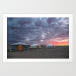 Sunrise in Gobi desert, Mongolia Art Print