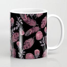 Red feathers of birds . Coffee Mug
