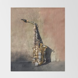 New Orleans French Quarter Saxophone Throw Blanket
