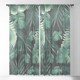 Tropical Jungle Leaves Dream #6 #tropical #decor #art #society6 Sheer Curtain