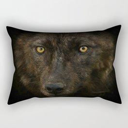 Black Wolf Rectangular Pillow
