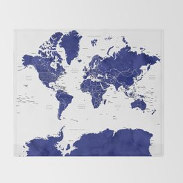 Navy blue world map with countries Throw Blanket