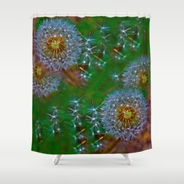 Golden dandelion seeds  Shower Curtain