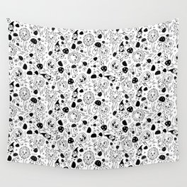 gnomes black and white Wall Tapestry