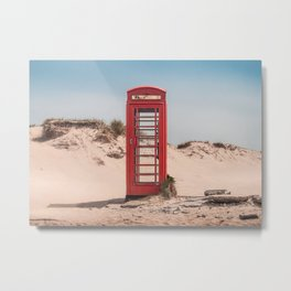 Red telephone box on a deserted beach Metal Print