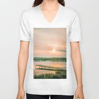 running V-neck T-shirts featuring Running clouds by Svetlana Korneliuk
