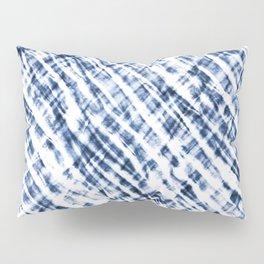 Tie Dye Criss-Cross Design in Indigo Blue and White Pillow Sham