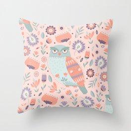 Folk Art Owl in Pink Throw Pillow
