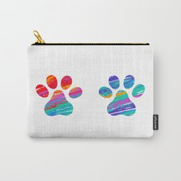 Two Cats Colorful Paws Carry-All Pouch