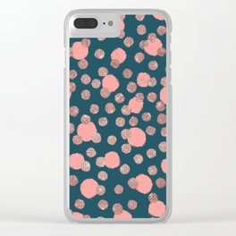 Girly Artsy Rose Gold Pink Polka Dots Clear iPhone Case