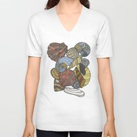 shells V-neck T-shirts featuring Shells by Nina Gibson