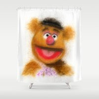 muppets Shower Curtains featuring Fozzie, The Muppets by KitschyPopShop