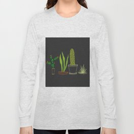 Cactus Trio (Black) Long Sleeve T-shirt