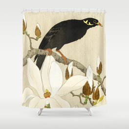 Bird Myna sitting on Magnolia tree - Vintage Japanese Woodblock Print Shower Curtain