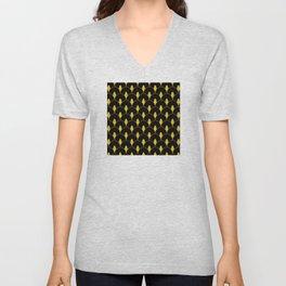 Dry Martini Gold and Black Art Deco Pattern Unisex V-Neck