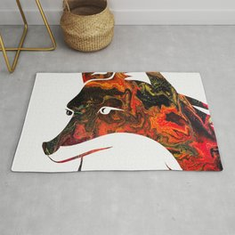 White Fox Head Silhouette on Fluid Art Pour Rug