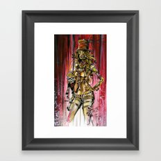 Zombie Ventriloquist Girl Framed Art Print