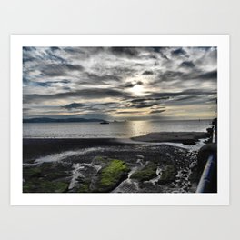 Cloudy Paignton Beach Art Print
