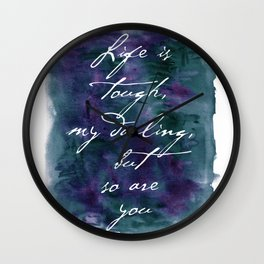 Life is Tough in Navy Blue Wall Clock
