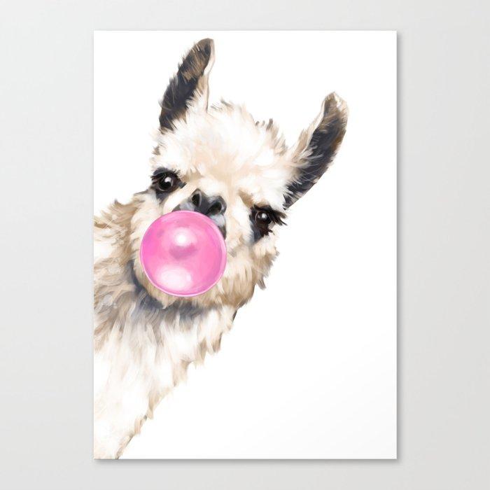 Bubble Gum Sneaky Llama Canvas Print