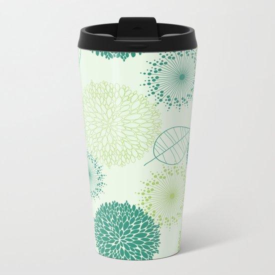 GREEN LEAVES PATTERN Metal Travel Mug