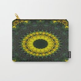 Large Yellow Wildflower Kaleidoscope Art 8 Carry-All Pouch