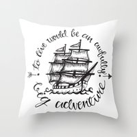 hook Throw Pillows featuring Hook by Corina Rivera Designs
