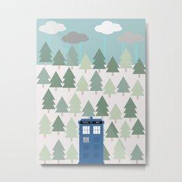TARDIS lands in the Pacific Northwest Pine Tree Forest - Oregon, Washington, Portland, PDX, Seattle Metal Print