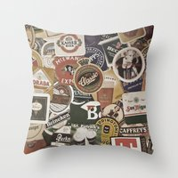 coasters Throw Pillows featuring Beer by Nicklas Gustafsson