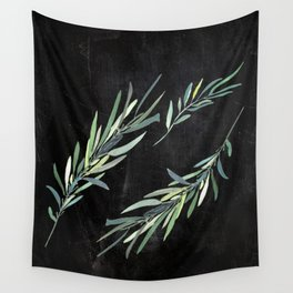 Eucalyptus leaves on chalkboard Wall Tapestry