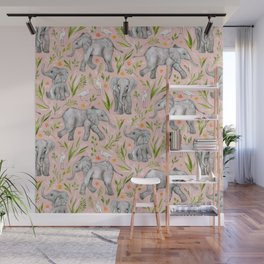 Baby Elephants and Egrets in watercolor - blush pink Wall Mural