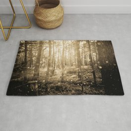 Vintage Sepia Fairy Forest Rug