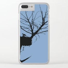 Silhouette Of Stalk Nest and Fledglings Vector Clear iPhone Case