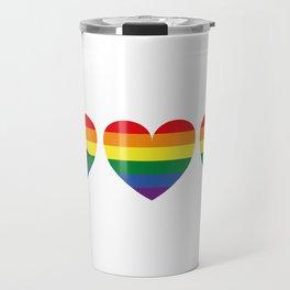 Hearts with gay flag (gay pride) Travel Mug