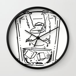 Ape Climbs out of the Whiskey Glass Wall Clock