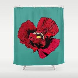 Seasons K Designs Red Poppy on Aqua Print Shower Curtain