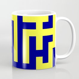 Electric Yellow and Navy Blue Labyrinth Coffee Mug