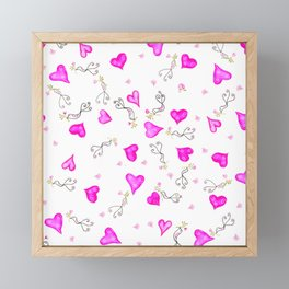 Hearts, birds, and roses Framed Mini Art Print