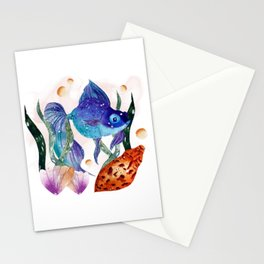 Under the sea, watercolor fish Stationery Cards