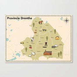 Geillustreerde kaart van de provincie Drenthe Canvas Print