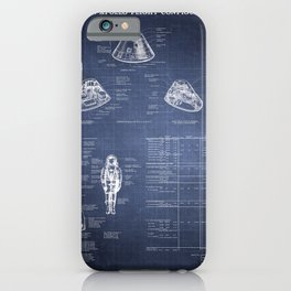 Apollo 11 Saturn V Command Module Blueprint in High Resolution (dark blue) iPhone Case